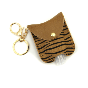 Hand Sanitizer Keychain 052 zebra brown leather