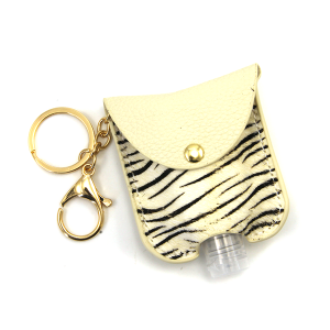Hand Sanitizer Keychain 053 zebra ivory leather