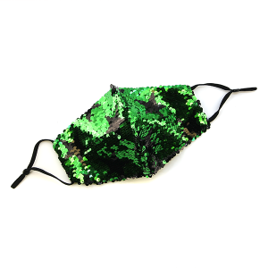 Face Mask 414 Sequin Mask Stars green