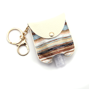 Hand Sanitizer Keychain 019 Stripes Ivory Brown Blue