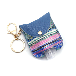 Hand Sanitizer Keychain 021 Stripes Multicolor Blue