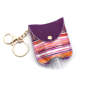 Hand Sanitizer Keychain 020 Stripes Purple Pink