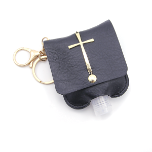 Hand Sanitizer Keychain 024 Cross Black