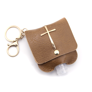 Hand Sanitizer Keychain 027 Cross Brown
