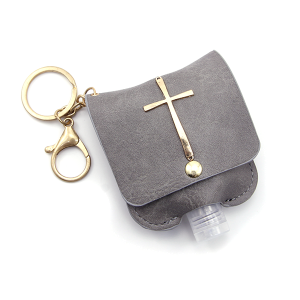 Hand Sanitizer Keychain 025 Cross Gray