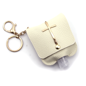 Hand Sanitizer Keychain 026 Cross Ivory