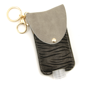 Hand Sanitizer Keychain 076 zebra gray large