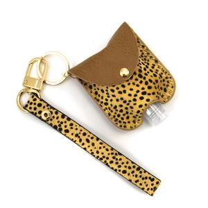 Hand Sanitizer Keychain 048 cheetah brown leather strap