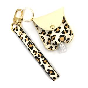 Hand Sanitizer Keychain 049 leopard ivory leather strap