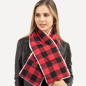 Scarf 533a tpo Plaid Scarf sherpa black red