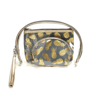 TPO MB0078 3pc cosmetic case set pineapple gold gray