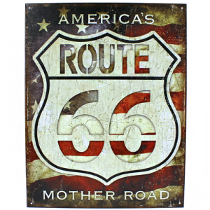 ms 2104 tin sign route 66 flag multi