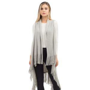 Shawl 633 tpo solid long fringe vest gray
