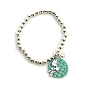 Bracelet 096b 47 Oori stretch bead turquoise mermaid bracelet
