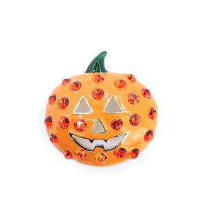Pin 006 Pumpkin Rhinestones Face