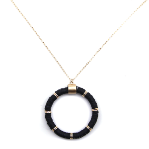 Necklace 913a 78 A Project contemporary chain hoop necklace black