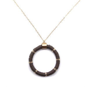 Necklace 910e 78 A Project contemporary chain hoop necklace d-brown