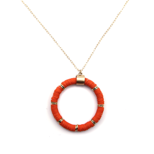 Necklace 905a 78 A Project contemporary chain hoop necklace orange
