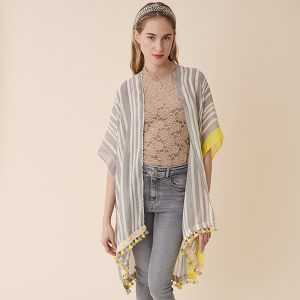Shawl 147g 30 stripe dual color tassel top yellow gray