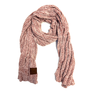 Scarf 165m 82 CC Chenille ribbed wrap rose pink
