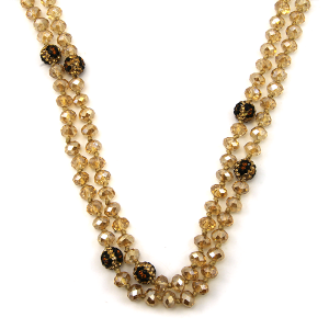 Necklace 923c 67 30 60 inch bead necklace leopard bead accents 04
