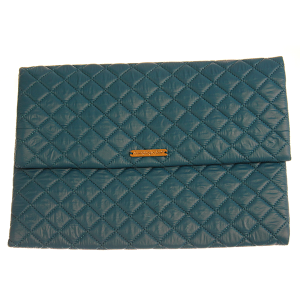 Quilted Nylon Evening Bag - teal