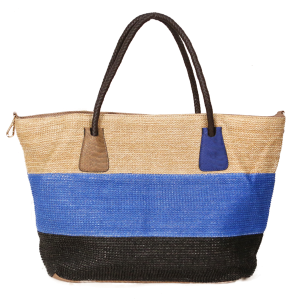 Tri Color Woven Straw Leather tote - Blue