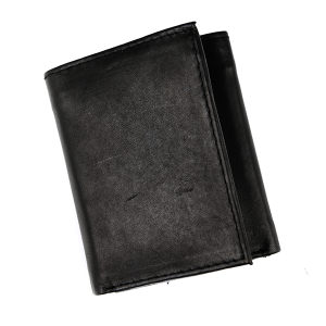Simple Trifold Wallet Leather a44 Black