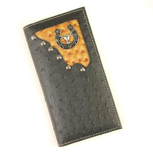 Western Large Leather Wallet Longhorn Black