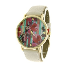 watch 107n 08 9837 leather like strap stripe floral multi white