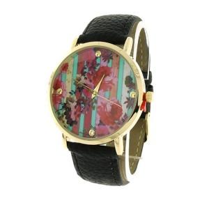 watch 123g 08 9837 leather like strap stripe floral multi black