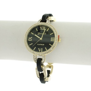 watch 131c 08 9471 round face roman crystal link black gold