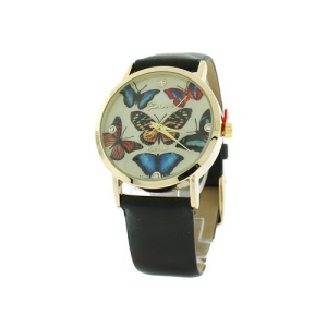 watch 139m 08 9863 round face butterfly leather black