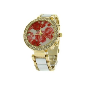 watch 193b 08 9484 round floral face crystal white gold