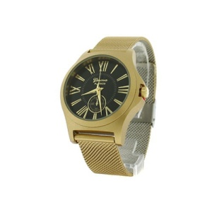 watch 195e 08 9477 round face roman mesh black gold