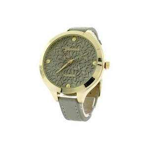 watch 199d 08 9597 round face floral leather gray