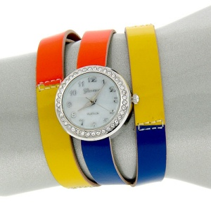 watch 207d 08 9602 wrap around silver orange green blue