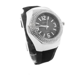 watch 327b 08 lg rubber round silver black