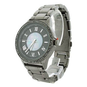 watch 378b 08 9455 round metal link crystal gunmetal