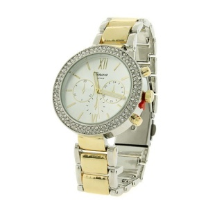 watch 381c 08 2349 round crystal metal link gold silver