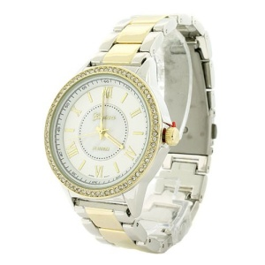 watch 412d 08 9455 round metal link crystal gold silver