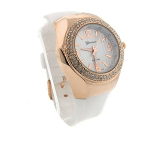 watch 447a 08 lg rubber round gold white