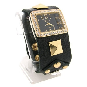 watch 453 08 rectangle band black gold