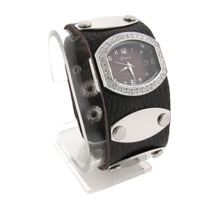 watch 498 08 wrist band silver dark brown