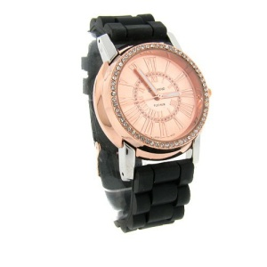 watch 520 08 lg rubber round silver bronze black