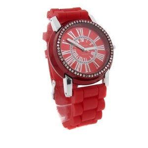 watch 524 08 lg rubber round silver red