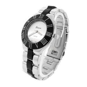 watch 578 08 link round silver black