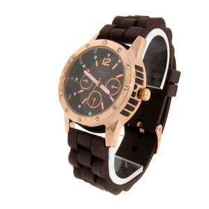 watch 581 08 lg rubber round rose gold brown