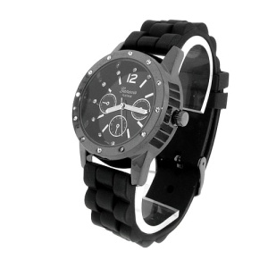watch 586 08 lg rubber round gunmetal black