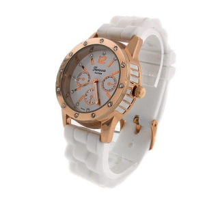 watch 587 08 lg rubber round rose gold white